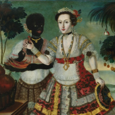 "Attributed to Vicente Alban, ""Yndia en trage de gala"" and ""Sra Prinsipal con su negra esclava"" Oil on canvas, 81.3 by 106 cm each Sold for $641,000 at Sotheby's New York, 28 May 2014, Lot 60 Estimate $80,000-120,000"